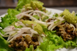 "Lettuce""Tacos"" with Kohlrabi Slaw and Chipotle Avocado Creme"