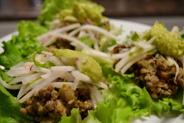 """Lettuce""""Tacos"""" with Kohlrabi Slaw and Chipotle Avocado Creme"""